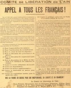Appel aux Francais Liberation de lAin